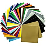 "Permanent Adhesive Backed Vinyl Sheets 12""x12""-40 Sheets Assorted Colors (Matte and Glossy) for Cricut, Silhouette Cameo, Craft Cutter Machine, Printers, Letters, Car Decal, Decor Sticker, Vinyl Paper"