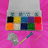 New Colorful Craft Loom Bracelet Kit Set + 2000 Rubber Bands Refills and Clips
