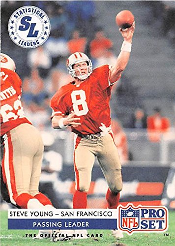 (Steve Young football card (San Francisco 49ers Hall of Fame) 1992 Pro Set #5 Passing Leader)