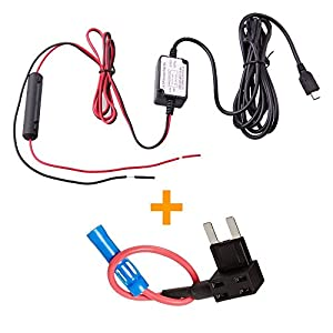 NuCam AW Dash Cam Hard wire Fuse Kit with Mini USB Direct Hardwire Car Charger Cable Kit for Dash Cameras (MiniUSB and Fuse Kit)