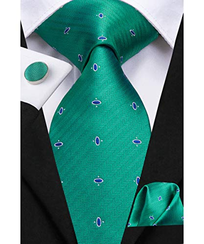 - Dubulle Mens Designer Green Tie Set with Hankerchief Woven Silk Necktie Set