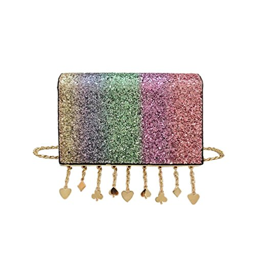 Women Girl Fashion Pendant Crossbody Shoulder Bag with Bling Sequins by VESNIBA (Hobo Betsey Johnson)