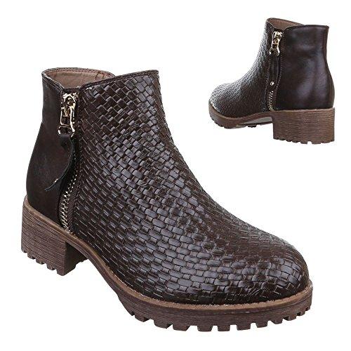 Ital-Design Damen Schuhe, B2933-KB, Stiefeletten Boots Braun