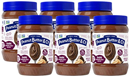 Peanut Butter & Co. Dark Chocolatey Dreams Peanut Butter, Non-GMO Project Verified, Gluten Free, Vegan, 16 oz Jars (Pack of 6)