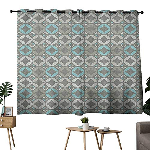 bybyhome Grey and Blue Grommet Image Darkening Curtains Retro Styled Abstract Overlapping Circles with Color Details Curtain Kitchen Window Grey Pale Blue Pale Grey W63 x L45