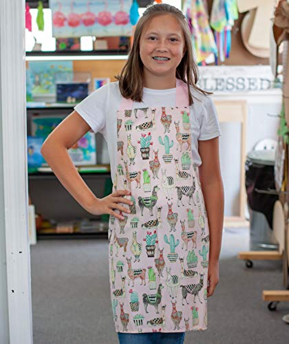 Pink Lovely Llama Girls Apron Gift for Crafts Art Kitchen from Sara Sews, Inc.