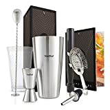 VonShef 8 Piece Cocktail Set – Boston Cocktail Shaker Kit in Gift Box with Accessories Including Glass, Jigger and Strainer