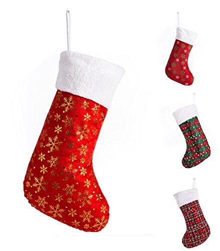 """Cuff Christmas Stocking - SANNO 16"""" Red Christmas Stockings, Classic Craft Socks Gold Snowflakes with White Cuff Design, 16"""
