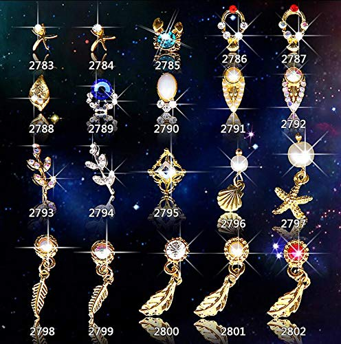 Kamas 20Pcs/Lot 3D Feather Pendant Dangles Nail Art Decorations Gold Metal Alloy Nail Charms Jewelry Studs Women Manicure Tools - (Color: 2789 20pcs)