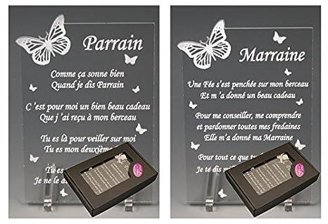 1 Poeme Parrain 1 Marraine Papillon Bapteme Communion