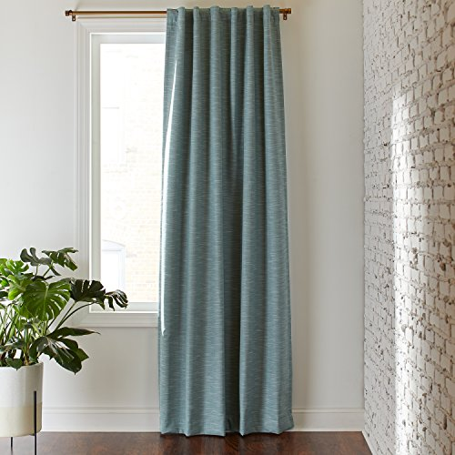 Rivet Room Darkening Textured Solid Thermal Weave Curtain, One Panel,  52