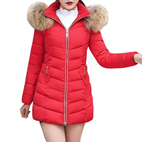 Sonnena Womens Long Fur Trimmed Hooded Padded Puffer Parka Ladies Winter Jacket Coat Red