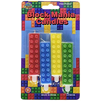 US TOY GROUP LLC Birt Toy Building Block Birthday Candles, One Size, Multi-colored: Kitchen & Dining