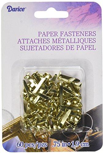 Darice 1095-17 Darice, 60 Piece, 3/4 inch, Paper Fasteners, Gold,, (Clamps Darice)