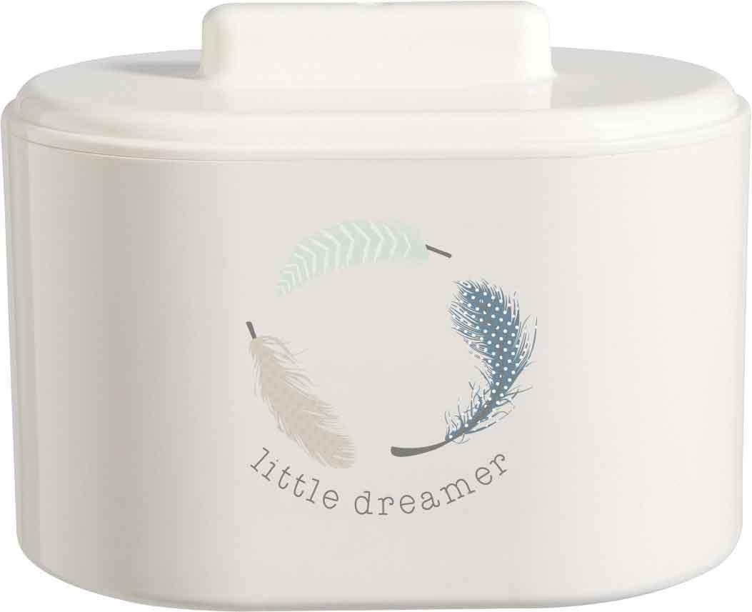 bébé-jou 621234 Kombidose Little dreamer, Hygienebox, Kosmetikdose, Utensilienständer, feder, gefieder, Utensilienständer