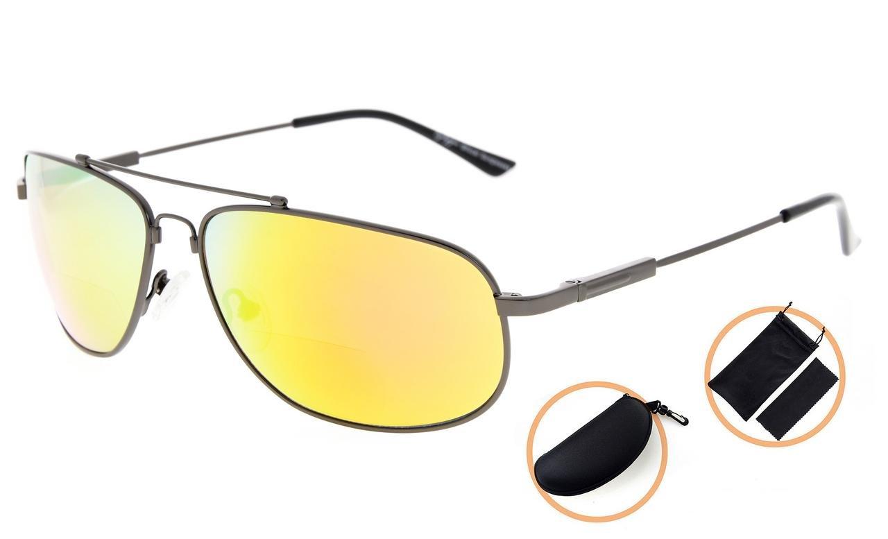 d94eae675014 Amazon.com  Eyekepper Bifocal Reading Sunglasses Bendable Memory Sun Readers  Women Men (Black Frame Green Mirror