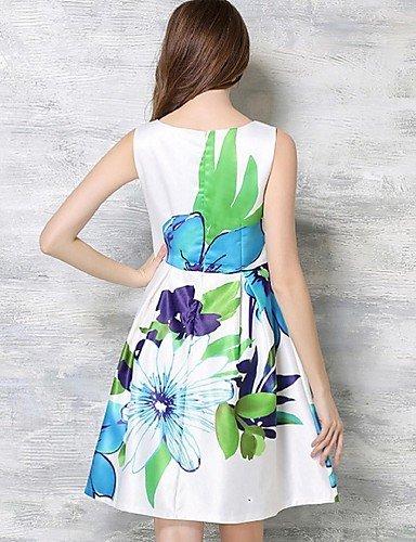 PU&PU Robe Aux femmes Trapèze Street Chic,Fleur Col Arrondi Au dessus du genou Polyester , white-xl , white-xl