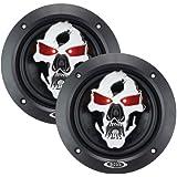 BOSS AUDIO SK553 Phantom Skull 3-Way Black Injection Cone Speakers with Custom Tooled Skull Cover (5.25)