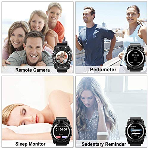 Smart Watch,Bluetooth Smartwatch Touch Screen Wrist Watch with Camera/SIM Card Slot,Waterproof Phone Smart Watch Sports Fitness Tracker Compatible Android Phones Black by Topffy (Image #2)