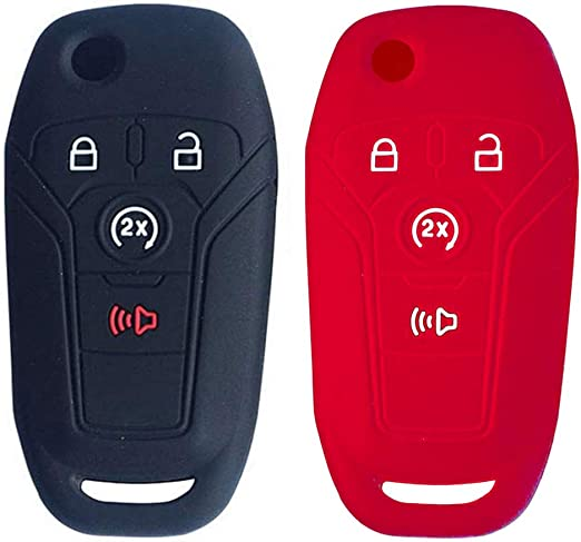 SOLIFEGOBLE 2pcs Car Remote Key Cover,Silicone Car Remote Key Fob Cover Case for Ford F-150 F-250 F-350 Fusion Fiesta Mustang Explorer Skin Jacket 4 Buttons