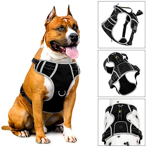 PLUTUS PET No-Pull Dog Harness with Handle & Poop Bag Holder on The Back for Large Dogs,Waste Bag Dispenser Makes a Great Walking, Running or Hiking Accessory