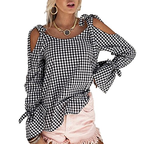 CWCentury Sleeve Flare Femme Grille paule Col Haut Bandage Blanc New Noir Rond Casual Chemisiers Blouses Dnude Fashion Shirts rBxrYF