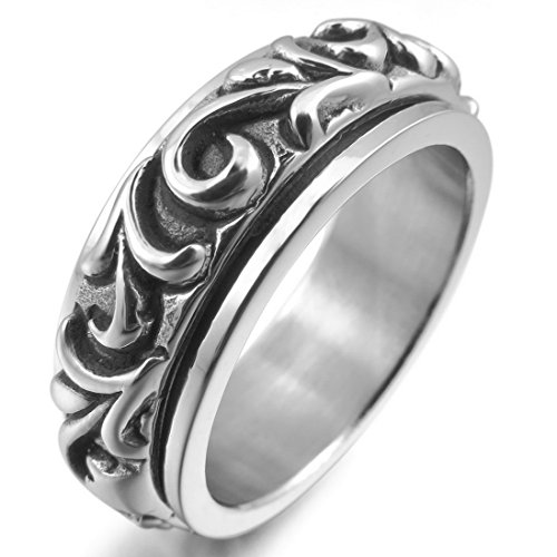INBLUE Men's Stainless Steel Ring Silver Tone Moving Embossed Size10
