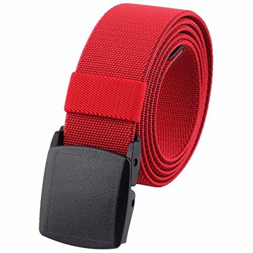- moonsix Men's Elastic Belt,Outdoor Military Tactical Duty Web Belt with Plastic Buckle,Red