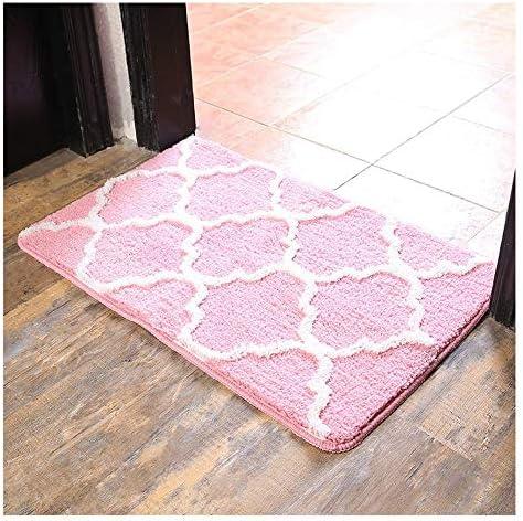 GHHQQZ バスルームのカーペット ノンスリップ 吸水 除塵 超極細繊維 家庭 キッチン バスルームラグ、 11色、 厚さ1.7 cm、 3サイズ (Color : Pink, Size : 50x80cm)