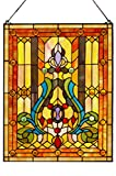 LDGJ Fleur de Lis Stained Glass Panel: 24.75 Inch Decorative Tiffany Style Window Hanging - Large Framed Vertical Floral Hangings for the Wall or Windows with Blue, Purple, Green and Red Accents