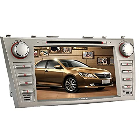 Pumpkin 2 Din In Dash Car Radio Bluetooth Stereo with HD 8 inch Touchscreen, Support DVD Player GPS Navigation Receiver with 8GB Kudos GPS Map Card for Toyota Camry Aurion, + Backup Camera (2011 Camry Backup Camera)