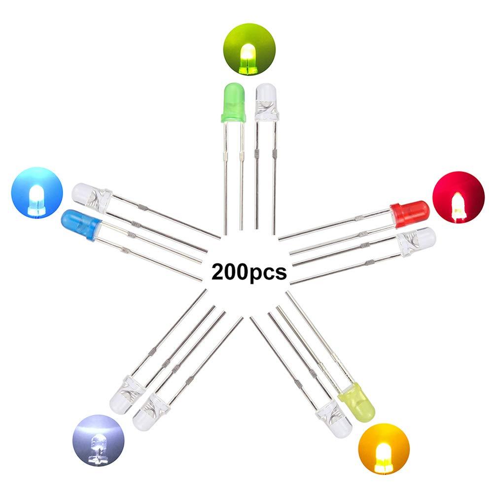 WayinTop 200 St/ück 3mm LED Leuchtdioden Dioden Set f/ür Arduino Rund Farbe Dioden LED Licht Lampe 20mA mit 5 Farben Wei/ß Rot Blau Gr/ün Gelb 5 Farben x 40pcs
