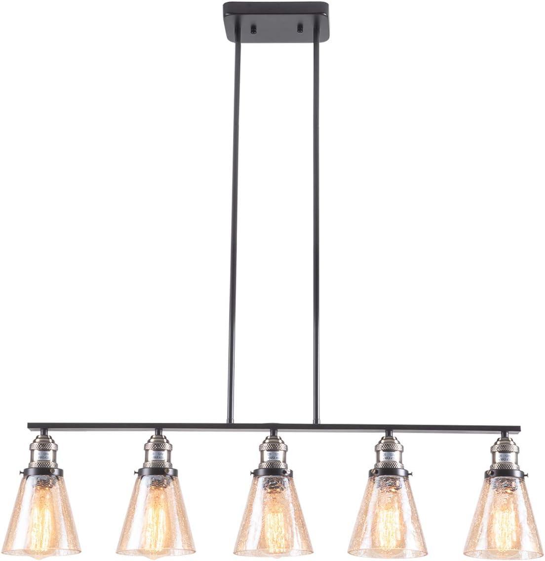 SHENGYADI 5-Light Amber Crackled Glass Pendant Light Modern Kitchen Island Lighting Dining Room Lighting Fixtures Hanging, Matte Black Finish