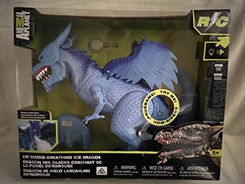 (Animal Planet Remote Control RC I/R Smoke Breathing Ice Dragon Awesome Smoke Effect! With Sound! Just Add Water For Smoke Effect, Moving Head & Neck, Roars, Lifelike Walking Action, Light Up Eyes! New)