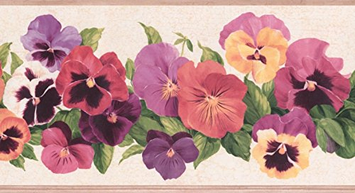 Red Purple Pink Yellow Flowers Cracked White Floral Wallpaper Border Retro Design, Roll 15' x 6