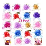"""Elegant Gift Pull Bows for Birthdays Easter Christmas, 18 Pack 6"""" diameter Organza Yarn Pull Bows Gift Wrapping Wrap Ribbon Bow Wedding Car Decoration Centerpieces Gift (18 Pack mix color): more info"""