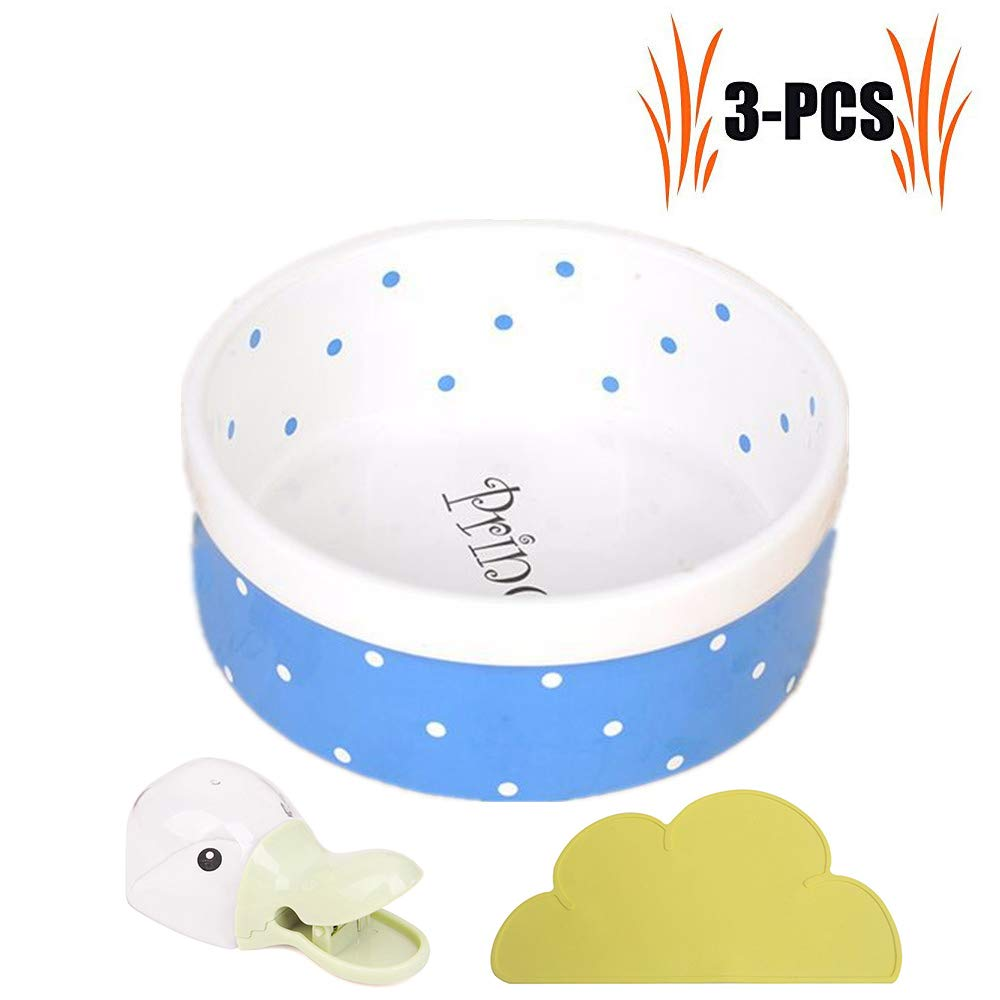 bluee Ceramic Dog Cat Bowls,High Capacity Pet Water&Food Feeder with Cloud Shape Non-Slip Mat and Food Scoop Shovel Tool,bluee
