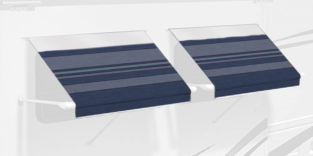 Carefree IE0607C00 SL Premium Indigo Blue 6.0 Long RV Camper Complete Window Awning with White Arms Indigo with White Wrap and Red Tenera Thread