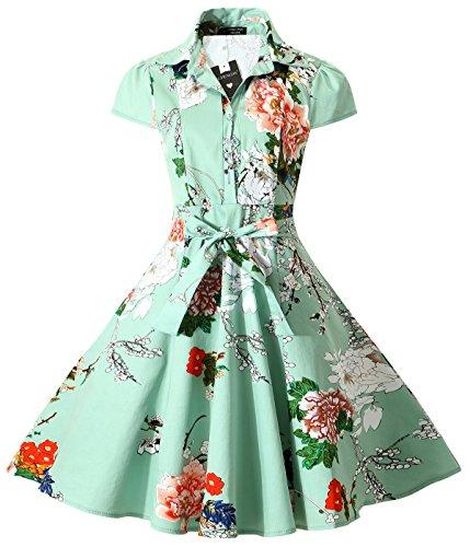 BI.TENCON 1950s Light Green Floral Printed Vintage Dress Button up Retro A Line Shirt Dress with Pockets Plus Size 2XL