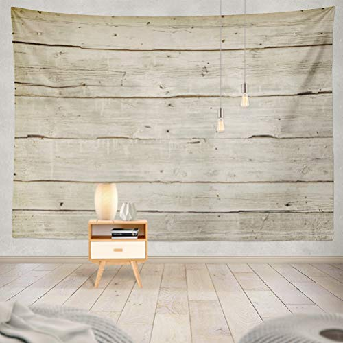 threetothree 60x80 Inches Tapestry Wall Hanging Interior Decorative Natural Wood Board Wall Panel Horizontal Shabby Wooden Color Vintage Surface for Bedroom Living Room Tablecloth Dorm ()