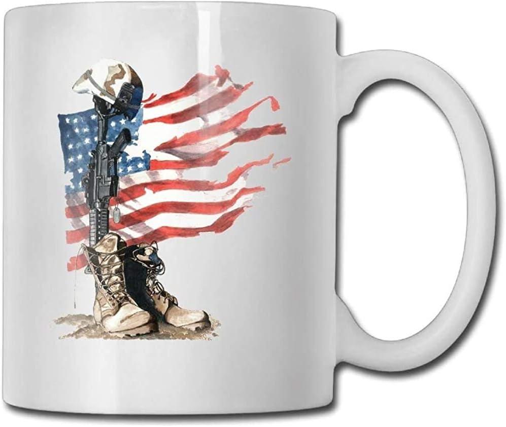 USA Flag Soliders Creencia Taza de café divertida Taza de té de café fresco 11 onzas Regalo perfecto para familiares y amigos