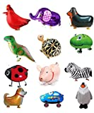 PUTING 12pcs Walking Animal Balloons Farm Animals Pets Air Walkers Toys for Kids Gift Birthday Party Decor