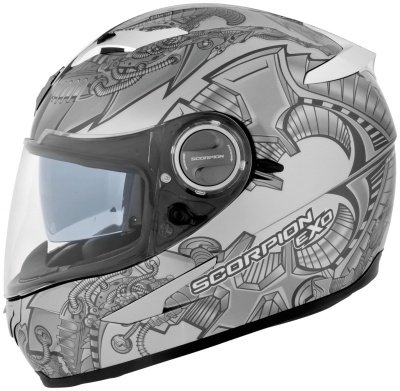 Scorpion EXO-500 Graphics Helmet, Silver Bio, Size: Md, Primary Color: Silver, Helmet Type: Full-face Helmets, Helmet Category: Street 50-204MD