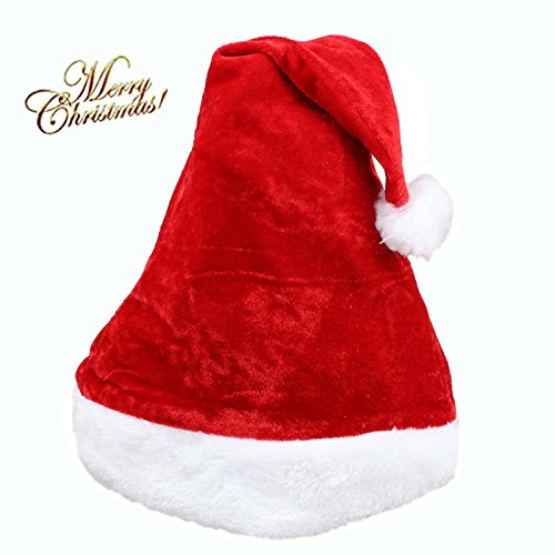 Santa Hat Christmas Velvet Hat for Adults with Plush Trim Comfort Liner For Christmas Events Parties for Adults