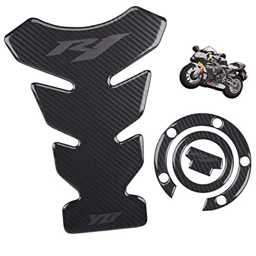 REVSOSTAR 5D Real Carbon, Motorcycle Gas Tank Protector, Grey Tank Pad Sticker, Tank Cap, Fuel Cap Decal with Keychain for Yzf R1, 3 Pcs Per Set