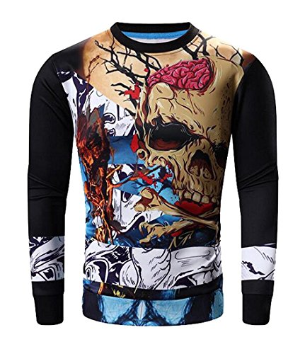 Ebay Hop Hip Costumes (Beautifullight handsome Mens Hip Hop Pullover Costume Adult Sweatshirt BlackUS Large-(China)
