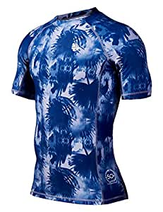 HUGE SPORTS Men's Splice Compression Short Sleeve Rash Guard Surf Wetsuit Swim Shirt UV Sun Protection UPF 50+(Banana Leaf,S)