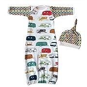 Newborn Baby Girls Cartoon Car Sleeper Gown Sleepsack Bag Coming Home Outfit size 6-12 Months/80 (White)