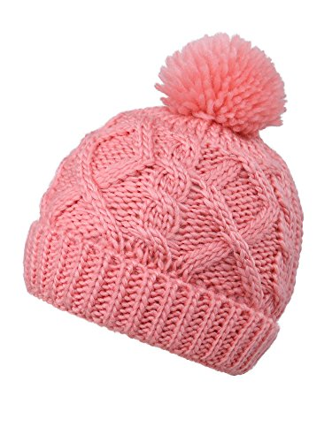 YoungLove Kids Winter Cable Knit Pom Pom Beanie Winter Hat for Boys/Girls- Assorted Color
