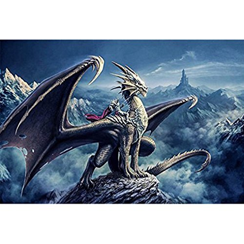 Square Battle Flag (Cinhent Diamond Painting, 20 x 30 cm Dragons and Knights in The Towering Mountains, Heroic Battles, Brave Heroes, Europe Craft Kits for Study Room)